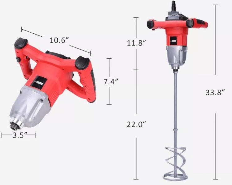 1500/W AC220/V mezclador 6/velocidades para mortero, pintura, cemento